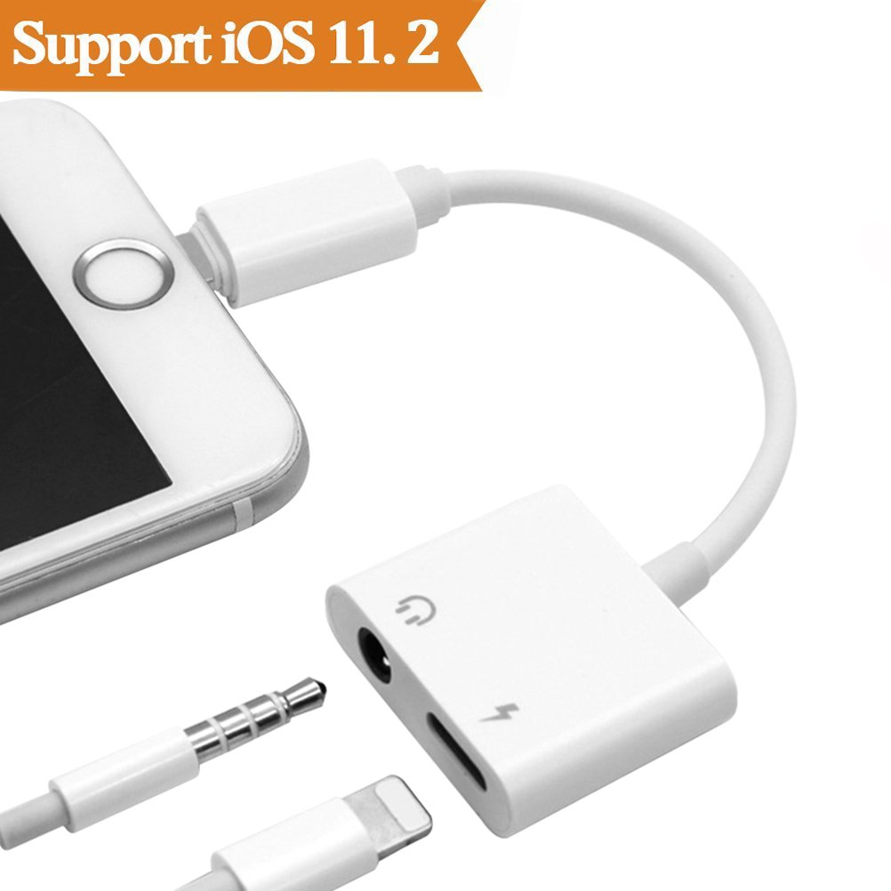 2 in1 THYTOB Jack Headphone Adapter for iPhone X 8/8Plus 7/7Plus iPod/iPad. Audio to 3.5mm Aux Splitter Adaptor Headset Earphone.(Support Audio + Charge +Compatible iOS 10.33/11.2or Later)