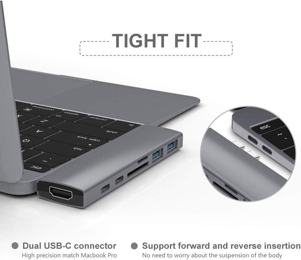 USB C Hub Thunderbolt 3 PD/&Data Transfer Port USB-C Port 11.5x3.2x1.5cm//4.5 x 1.3 x 0.6, Space Gray PUAO 7 in 1 Aluminum USB Type C Hub Adaptor for MacBook Pro with 4K HDMI 2 USB 3.1Port