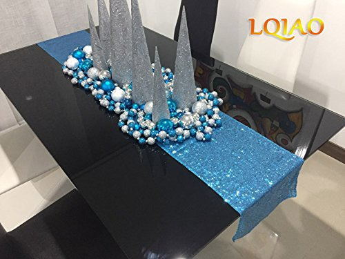 LQIAO Turquoise Sequin Table Runner-13x108inch Sparkly Shimmer Sequin Fabric, Sequin Table Runner, Sequin Tablecloth, Table Linens Wedding Dining Party Shiny Decoration(18PCS)
