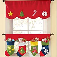 Aniwon Christmas Window Valance Sheer Valance Set With Four Christmas Holiday Stockings