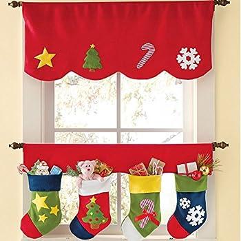 Aniwon Christmas Window Valance Sheer Valance Set