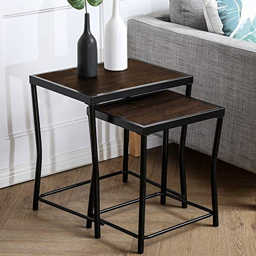 HOMOOI Nesting Tables Set of 2, Stacking Side Tables, Nesting Coffee Table for Living Room with Metal Frame and Vintage Textured Top