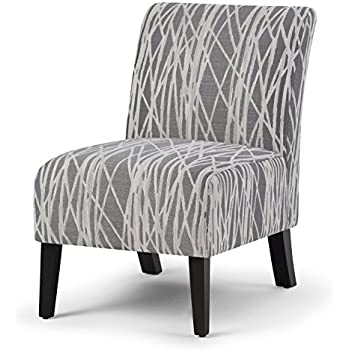 Simpli Home Woodford Accent Chair, Grey and White