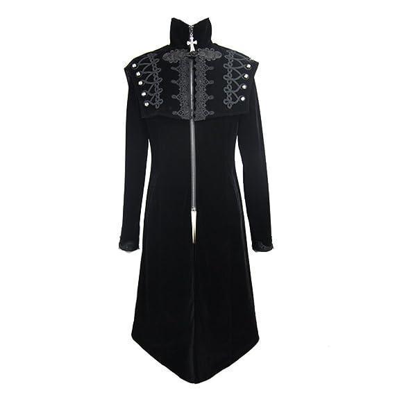 c96e39c7107 Gothic Men Fashion Victorian Baroque Slim Fit Long Tailcoat Steampunk  Vintage Gentleman Medieval Vampire Style Jacket Coat  Amazon.co.uk  Clothing