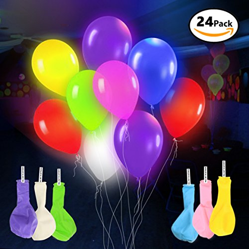 s – 24 Pack - Mixed Colors – Premium Party Lights – Ideal for Parties, Birthdays and Wedding Decorations – Lasts 8-24 Hours – Fillable with Helium, Air, or Water - by DG Sports (Electric Fly Toy)
