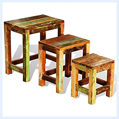 K&A Company Nesting Table Set 3 Pieces Vintage Reclaimed Wood