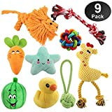Dog Toys for Aggressive Chewers, Puppy Chew Toys - 100% Natural Cotton Rope Teething Toys - Squeak Toys - Dog Balls - Plush Dog Toy - Tug of War Ball - Toys for Small Pet Dogs 9 Pack Gift Set