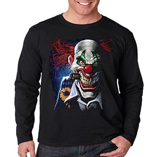 Evil Clown Long Sleeve Shirt Smoking Joker Liquid Blue Mens S-3XL (Black, 3XL) ()