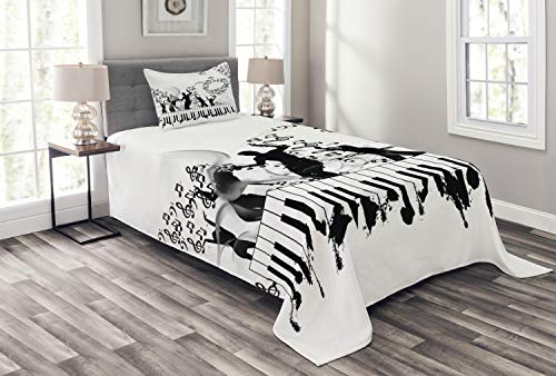 Lunarable Musical Bedspread Set Twin Size, Party Dancers on Piano Keyboards and Twisted Music Note Line Stripes, Decorative Quilted 2 Piece Coverlet Set with Pillow Sham, White - Music Stripes 2