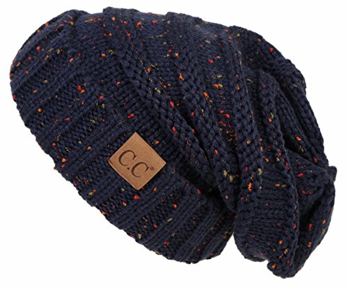 (H-6100-2031 Funky Junque Oversized Beanie - Navy (Confetti))