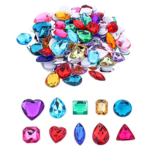 Self Adhesive Craft Jewels Jumbo Bling Crystal Gem Stickers Assorted Shapes Colors Rhinestone Stickers for Arts & Crafts Projects Pack of 110