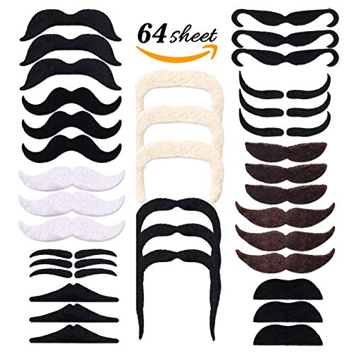 FATHER.SON 64Pcs Self Adhesive Fake Mustache Fake Beard for Costume Parties and Festivals