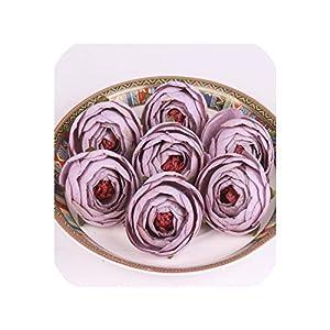 50PCS/LOT Silk Small Tea Rose Buds Artificial Flower Heads DIY Wedding Decor Home Garden Office Table Flower Wall Accessories,Light Purple 77