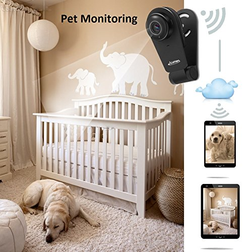 Acumen D01 Mini Indoor Wi-Fi Wireless IP Security Surveillance Camera System HD 720P Baby Monitor Two-Way Audio Night Vision, Black