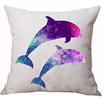 e47cb27bc2b9 Beautiful Underwater World Marine Life Fantastic Colorful Stars Sky Galaxy  Dolphin Cotton Linen Decorative Home Office Throw Pillow Case Cushion Cover  ...
