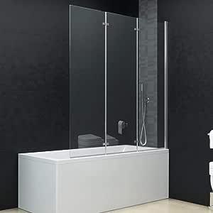Mampara para bañera o Ducha, Plegable, 3 Paneles, 130 x 138 cm: Amazon.es: Hogar