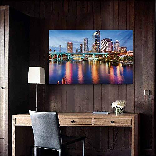 duommhome City Abstract Painting Hillsborough River Tampa Florida USA Downtown Idyllic Evening at Business District Natural Art 47