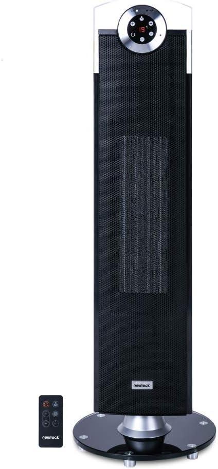 NEWTECK Calefactor Cerámico Rhapsody, Termoventilador de Torre, 2500W, Temperatura Ajustable hasta 35º, Temporizador 12h. Oscilación 76º, Silencioso, Velocidad 1.6m/s, Mando a Distancia y Panel Táctil