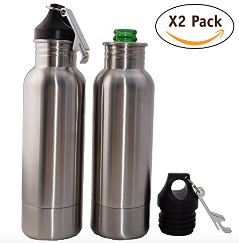 Stainless Steel Bottle Insulator Carrier | 2 Pack Large 12oz Premium Beer Glass Cooler with Bottle Openers | Use as Insulator, Vacuum Cap Koozies | Perfect for Keeping Drink Warmer (Bottle Koozie With Bottle Opener)