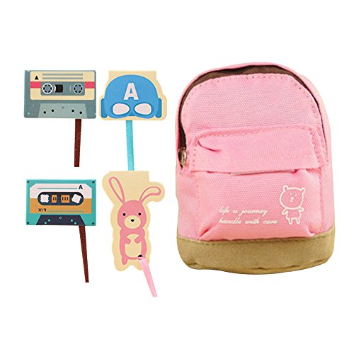 Magnetic Bookmarks Classical Tape and Animals with Long Tail Ribbon Planner Clips Oxford Cloth Mini Bag