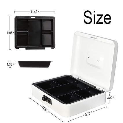 Amazon.com: Caja fuerte de metal con bandeja para dinero y ...