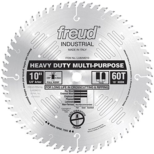 Heavy Duty Rip Blade (Freud LU82M010 10-Inch 60 Tooth TCG Crosscutting and Ripping Saw Blade with 5/8-Inch Arbor)