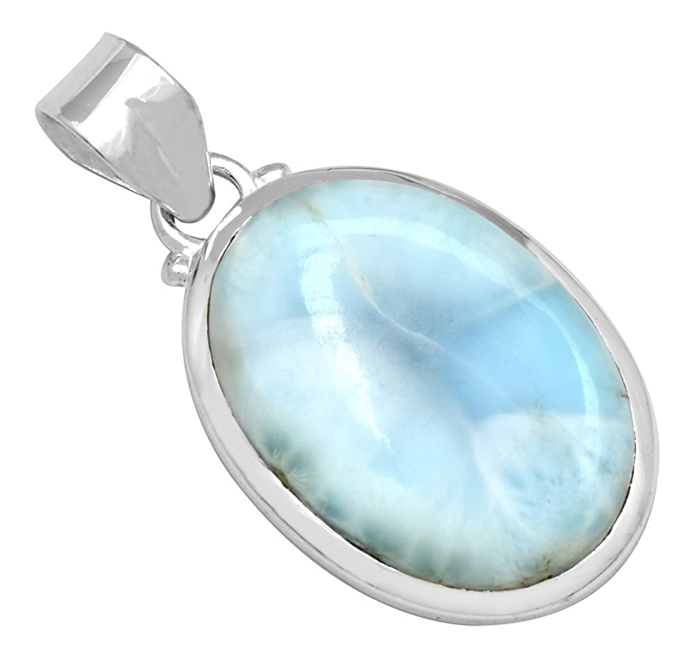 YoTreasure Natural Larimar/  1 3//4 Long/ 925 Solid Sterling Silver/ Pendant/ With 18 Chain/ Necklace Silver Jewelry