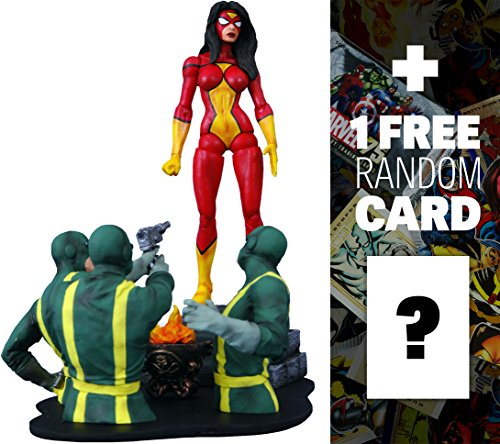 Spider-Woman: Marvel Select x Diamond Select Action Figure + 1 FREE Official Marvel Trading Card Bundle