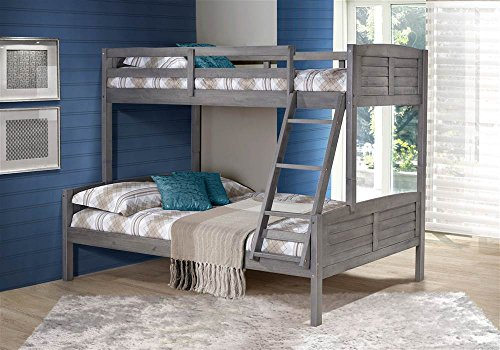 Donco Kids Twin Over Full Louver Bunk Bed in Antique Gray ()