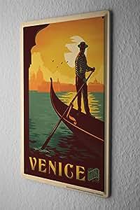 Cartel de chapa Placa metal tin sign Gira Mundial Venecia Italia Gondola gondoleros Letrero De Metal 20X30 cm