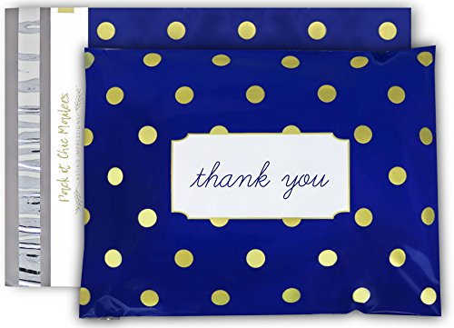 """[ 100-10"""" X 13"""" ] Navy Polka Dot - Thank You Design Custom Poly Mailer Envelope Shipping Bags, Tear Proof & Powerful Self Seal Adhesive Postal Bags (Other Designs Available) - Pack It Chic by Pack It Chic"""