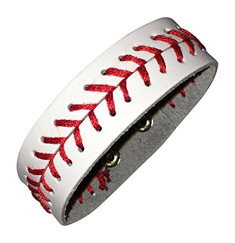 White Leather Baseball Seam Bracelet Small by BallPark - Baseball Leather Bracelet
