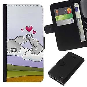 All Phone Most Case / Oferta Especial Cáscara Funda de cuero Monedero Cubierta de proteccion Caso / Wallet Case for LG OPTIMUS L90 // Elephant and heart