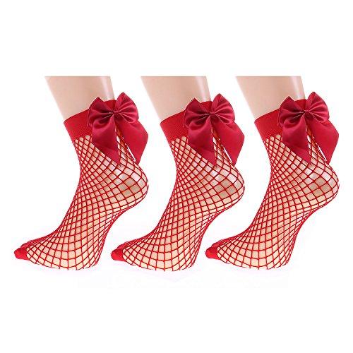 (UNIKIWI.Women's Fashion Bow knot Fishnet Socks.Fishnets.3 Pairs Packs (red))