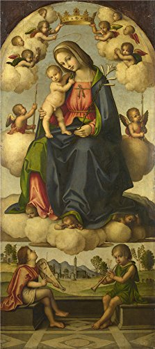 Polyster Canvas ,the Imitations Art DecorativePrints On Canvas Of Oil Painting 'Giovanni Battista Da Faenza The Virgin And Child In Glory ', 12 X 27 Inch / 30 X 68 Cm Is Best For Gym Decor And Home Decoration And Gifts