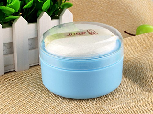 Cute PP Baby Face Body Cosmetic Powder Puff Sponge Box Case Container Kit Safety Talcum Supplies Shower by TATEELY