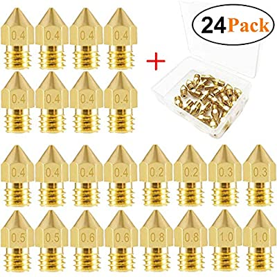 24 PCS 3D Printer Nozzles MK8 Extruder Nozzles 0.2mm, 0.3mm, 0.4mm, 0.5mm, 0.6mm, 0.8mm, 1.0mm with a Storage Box for Makerbot Creality CR10 Ender 3 5