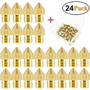0.2~1.0mm 19Pcs 3D Printer Extruder Copper Brass Nozzle Print Head For Mk8 CR-10