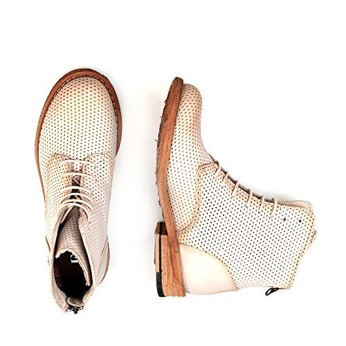 Felmini - Zapatos para Mujer - Enamorarse com Gredo 9507 - Botas com Cordones - Cuero Genuino - Beige - 0 EU Size Beige