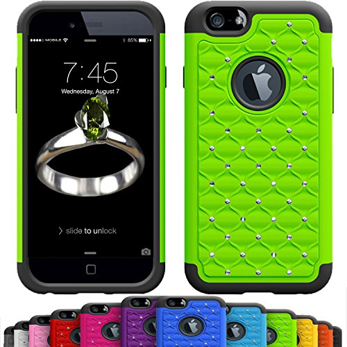 iPhone 6s / 6 Plus (5.5 Inch) Crystal Studded Defender Cases by VALLT, Hybrid Dual Layer Rhinestone Bling Protective Case for Apple I Phone - Lifetime Guarantee (Lime Green)