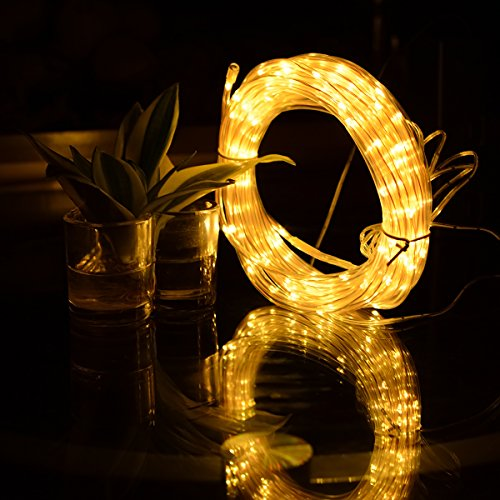 Outdoor Solar Rope Lights 8 Lighting Modes 100 LED Waterproof Copper Wire String Fairy Christmas Lights Ideal for Halloween Garden Patio Holiday Bedroom Wedding Decorations (Warm White) by SOCO (Image #3)
