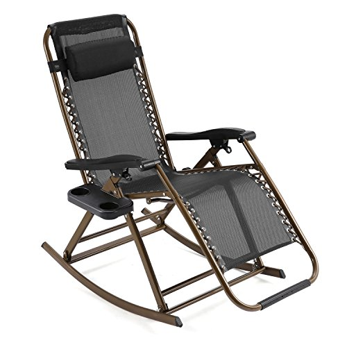 Yuebo Folding Rocking Chair Zero Gravity Garden Chairs, Reclining Sun Lounger with Adjustable Pillow for Garden Patio Lawn- Indoor & Outdoor