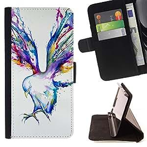 Momo Phone Case / Flip Funda de Cuero Case Cover - Pintura Blue Jay Arte de la acuarela - Samsung Galaxy S6 EDGE