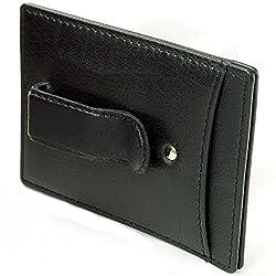 Hammer Anvil Men's Genuine Leather Minimalist Money Clip Front Pocket Wallet