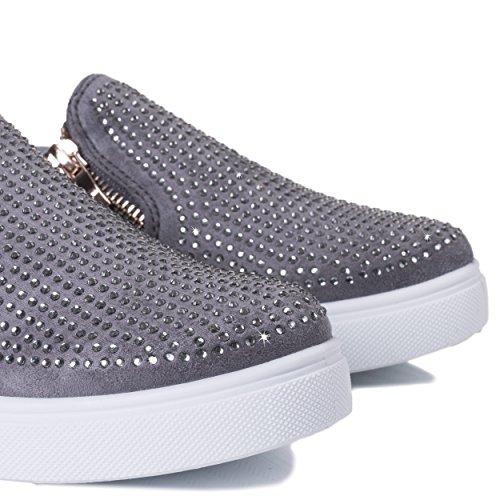Spylovebuy Picture Perfect Damen Diamante Flache Sneaker Schuhe Grau - Synthetik Kunstleder