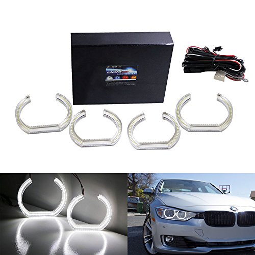 iJDMTOY Xenon White DTM Style Square LED Halo Rings w/ Acrylic Covers For BMW F30 3 Series Halogen Headlights Angel Eye Retrofit