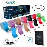 FriCARE Pre-Cut Kinesiology Sport Tape (3 Roll Pack), X Y I Shape, 17ft Athletic Kinetic Strip Aid, Breathable, Water Resistant, Pain Relief Adhesive for Muscles, Shin Splints, Knee&Shoulder (Black)