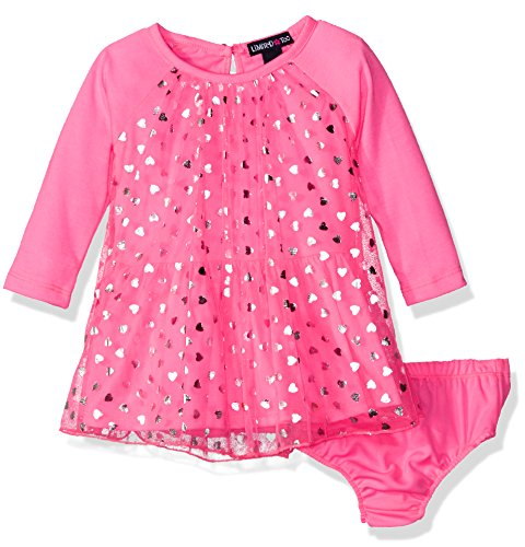 Limited Too Baby Girls' Long Sleeve Confetti Heart Knit Dress, Neon Pink, 12M -