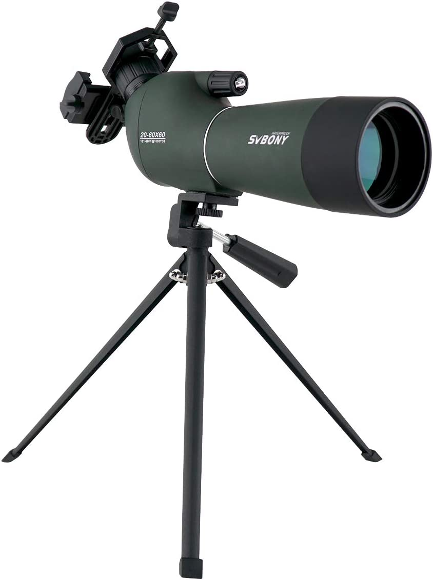 SVBONY SV28 Spotting Scope with Tripod and Phone Adapter Waterproof Angled Eyepiece Bak4 Prism for Target Shooting Bird Watching Hunting Gifts