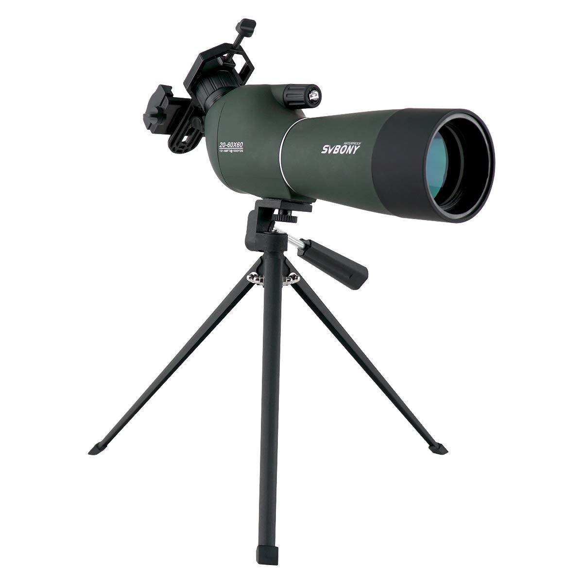 SVBONY SV28 Porro Prism Spotting Scope 20-60x60mm Bird Scopes Shooting Bird Watching 45 Degree Angled Eyepiece Telescope Target Shooting Hunting Bak4 Prism Phone Adapter(20-60x60mm) by SVBONY